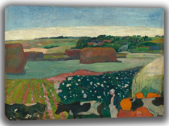Gauguin, Paul: Haystacks in Brittany. Fine Art Canvas. Sizes: A4/A3/A2/A1 (003560)